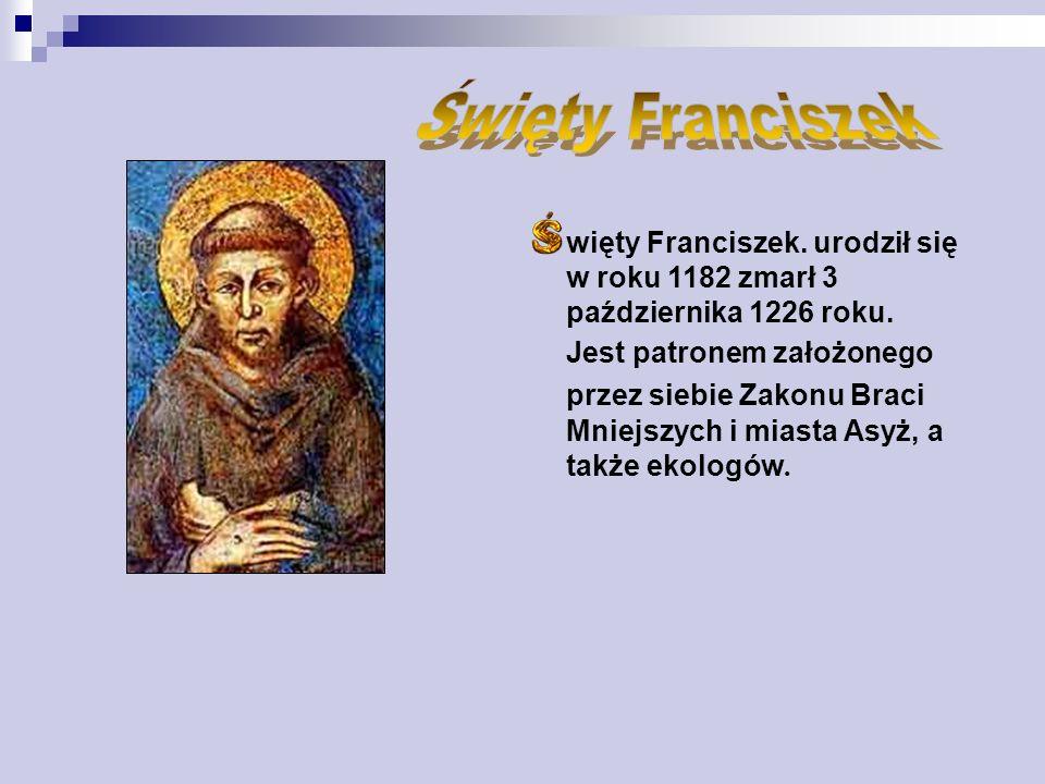 więty Franciszek.urodził się w roku 1182 zmarł 3 października 1226 roku.