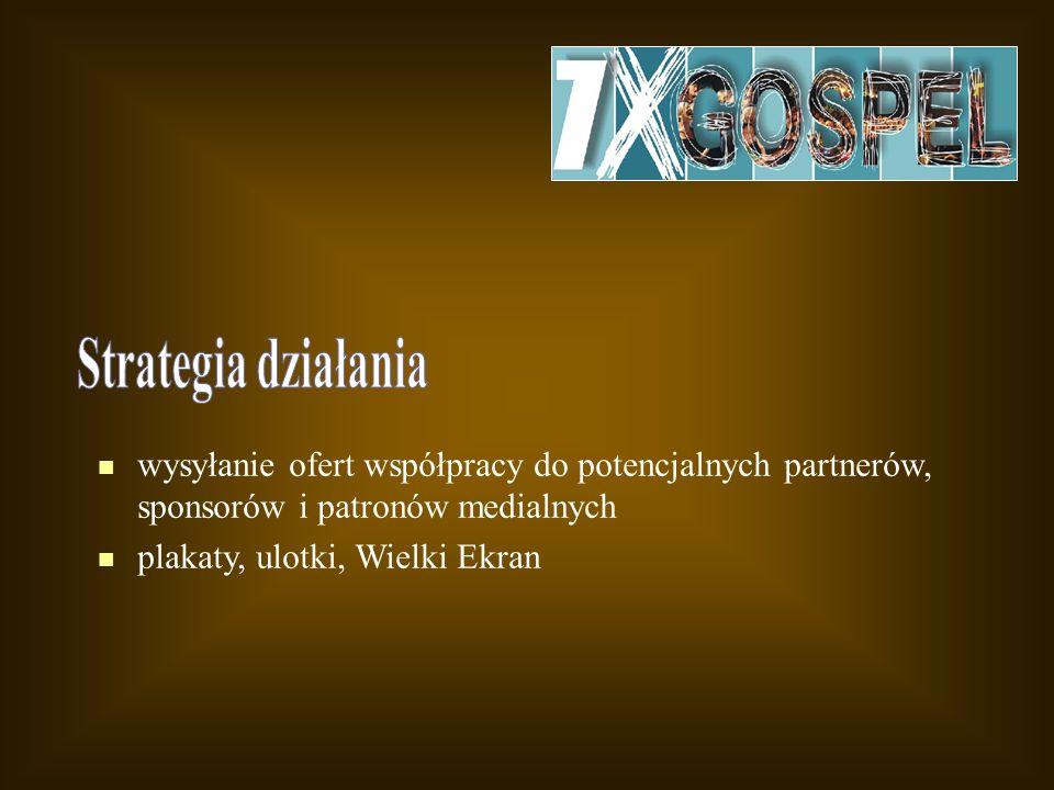wysyłanie ofert współpracy do potencjalnych partnerów, sponsorów i patronów medialnych plakaty, ulotki, Wielki Ekran