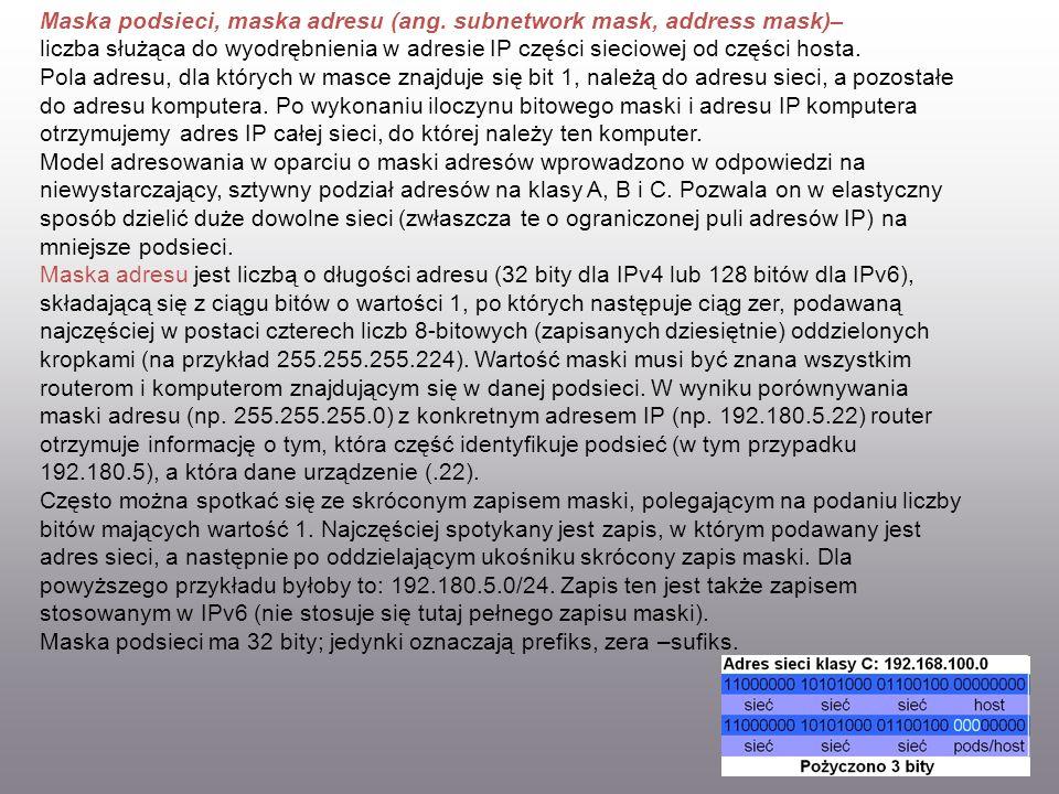 Maska podsieci, maska adresu (ang. subnetwork mask, address mask)– liczba służąca do wyodrębnienia w adresie IP części sieciowej od części hosta. Pola