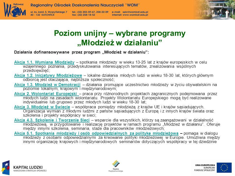 Poziom unijny – wybrane programy Młodzież w działaniu Działania dofinansowywane przez program Młodzież w działaniu: Akcja 1.1.
