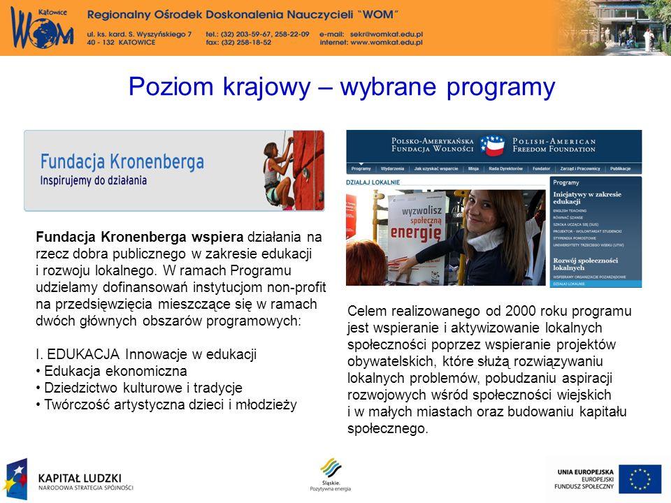 Poziom krajowy – wybrane programy Fundacja Kronenberga wspiera działania na rzecz dobra publicznego w zakresie edukacji i rozwoju lokalnego.