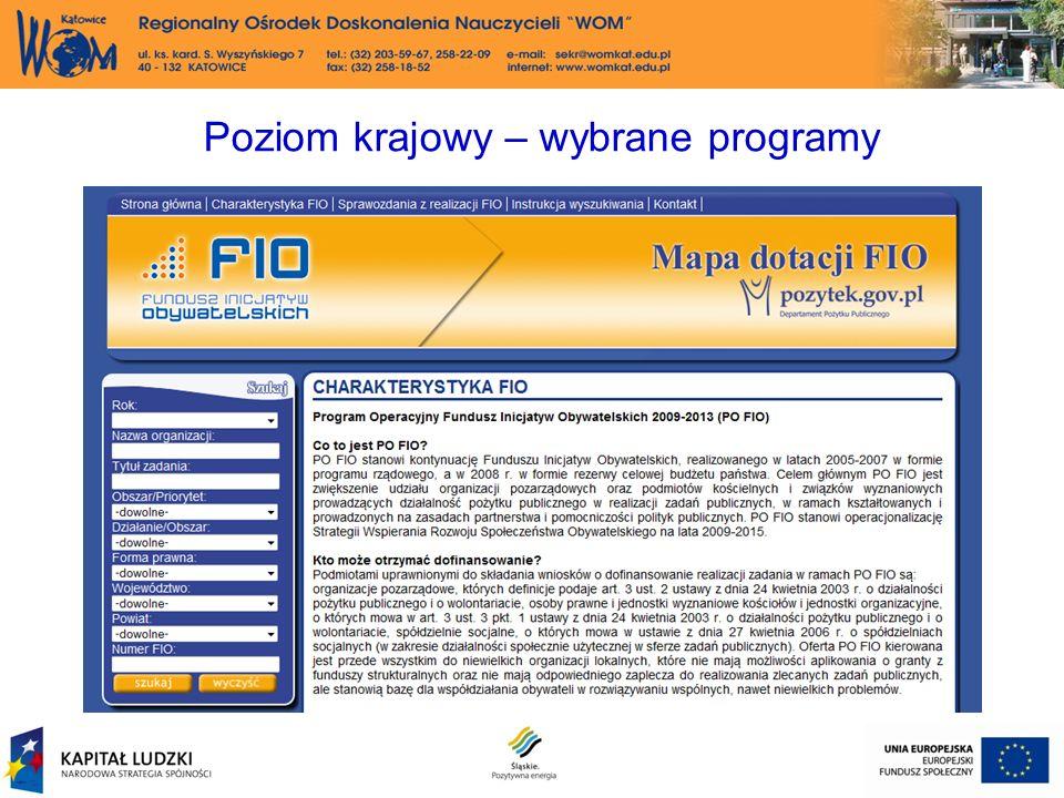 Poziom krajowy – wybrane programy