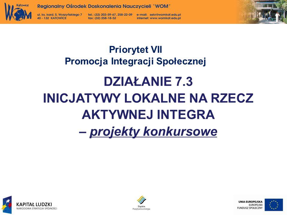 Priorytet VII Promocja Integracji Społecznej DZIAŁANIE 7.3 INICJATYWY LOKALNE NA RZECZ AKTYWNEJ INTEGRA – projekty konkursowe