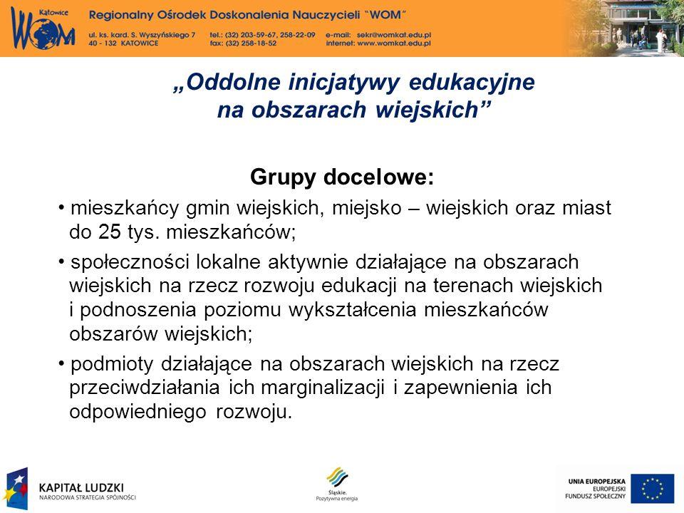 Grupy docelowe: mieszkańcy gmin wiejskich, miejsko – wiejskich oraz miast do 25 tys.