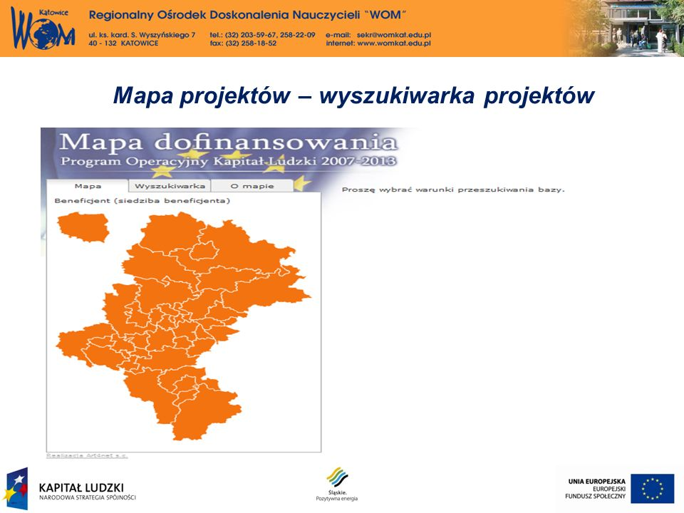 Mapa projektów – wyszukiwarka projektów