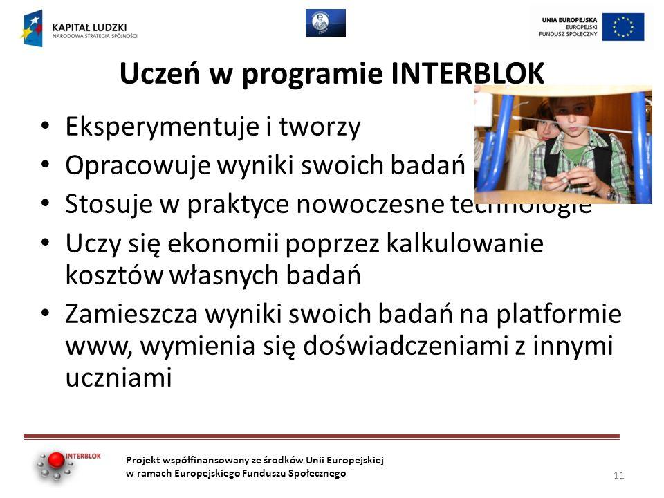 Uczeń w programie INTERBLOK Eksperymentuje i tworzy Opracowuje wyniki swoich badań Stosuje w praktyce nowoczesne technologie Uczy się ekonomii poprzez kalkulowanie kosztów własnych badań Zamieszcza wyniki swoich badań na platformie www, wymienia się doświadczeniami z innymi uczniami Projekt współfinansowany ze środków Unii Europejskiej w ramach Europejskiego Funduszu Społecznego 11