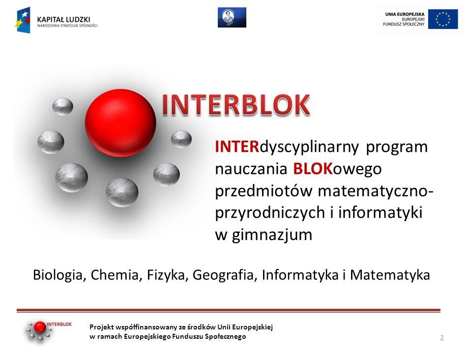 Testowanie INTERBLOKU 45 szkół 100 klas 400 nauczycieli Ponad 2000 uczniów 3000 zrealizowanych zajęć blokowych Projekt współfinansowany ze środków Unii Europejskiej w ramach Europejskiego Funduszu Społecznego 13
