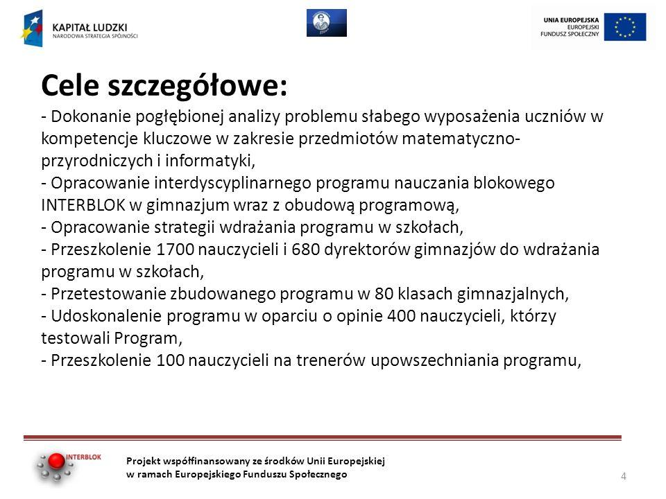 Cele szczegółowe: - Dokonanie pogłębionej analizy problemu słabego wyposażenia uczniów w kompetencje kluczowe w zakresie przedmiotów matematyczno- przyrodniczych i informatyki, - Opracowanie interdyscyplinarnego programu nauczania blokowego INTERBLOK w gimnazjum wraz z obudową programową, - Opracowanie strategii wdrażania programu w szkołach, - Przeszkolenie 1700 nauczycieli i 680 dyrektorów gimnazjów do wdrażania programu w szkołach, - Przetestowanie zbudowanego programu w 80 klasach gimnazjalnych, - Udoskonalenie programu w oparciu o opinie 400 nauczycieli, którzy testowali Program, - Przeszkolenie 100 nauczycieli na trenerów upowszechniania programu, Projekt współfinansowany ze środków Unii Europejskiej w ramach Europejskiego Funduszu Społecznego 4