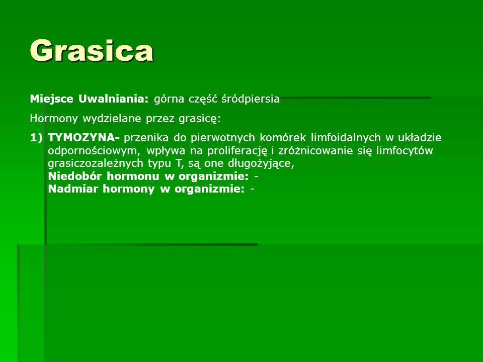 Grasica Miejsce Uwalniania: górna część śródpiersia Hormony wydzielane przez grasicę: 1)TYMOZYNA- przenika do pierwotnych komórek limfoidalnych w ukła