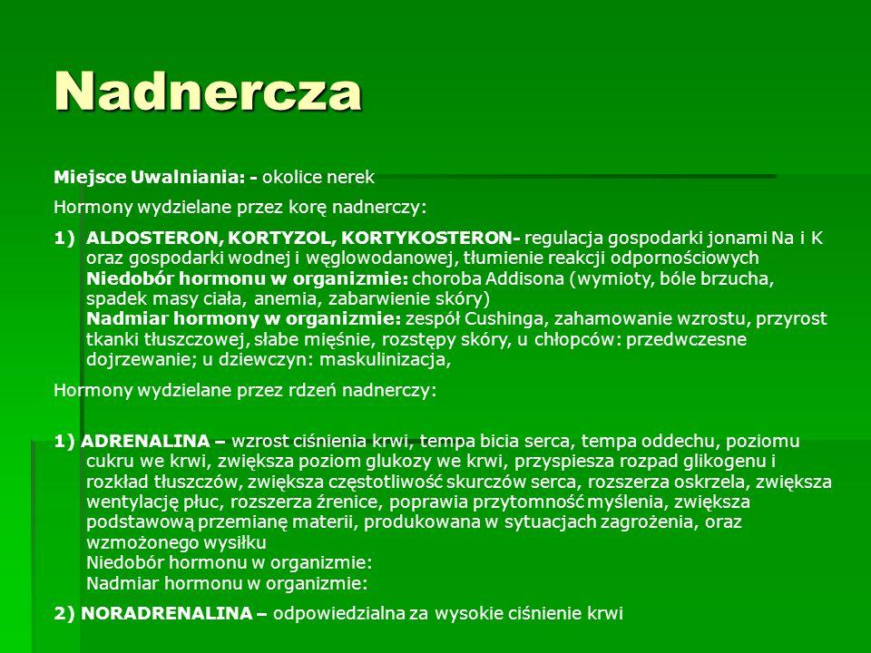 Nadnercza Miejsce Uwalniania: - okolice nerek Hormony wydzielane przez korę nadnerczy: 1)ALDOSTERON, KORTYZOL, KORTYKOSTERON- regulacja gospodarki jon