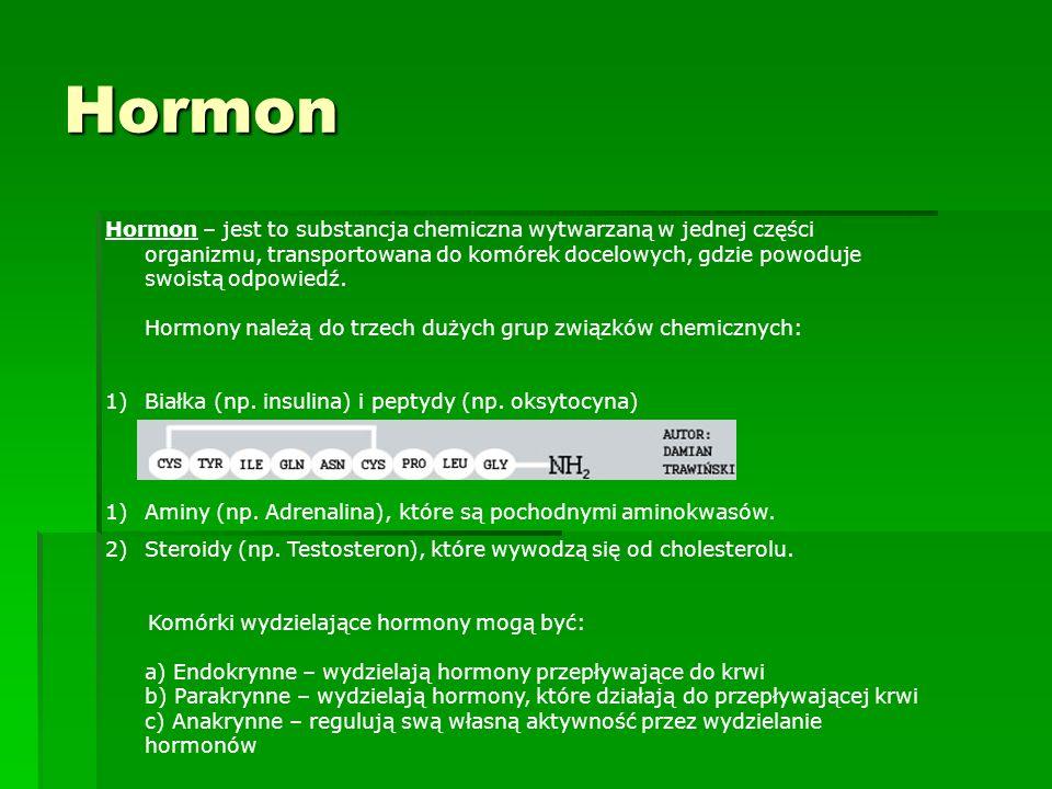 Hormon Hormon – jest to substancja chemiczna wytwarzaną w jednej części organizmu, transportowana do komórek docelowych, gdzie powoduje swoistą odpowi