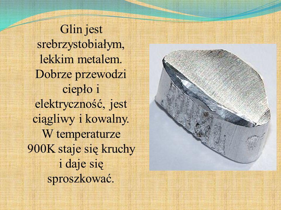 Glin jest srebrzystobiałym, lekkim metalem. Dobrze przewodzi ciepło i elektryczność, jest ciągliwy i kowalny. W temperaturze 900K staje się kruchy i d