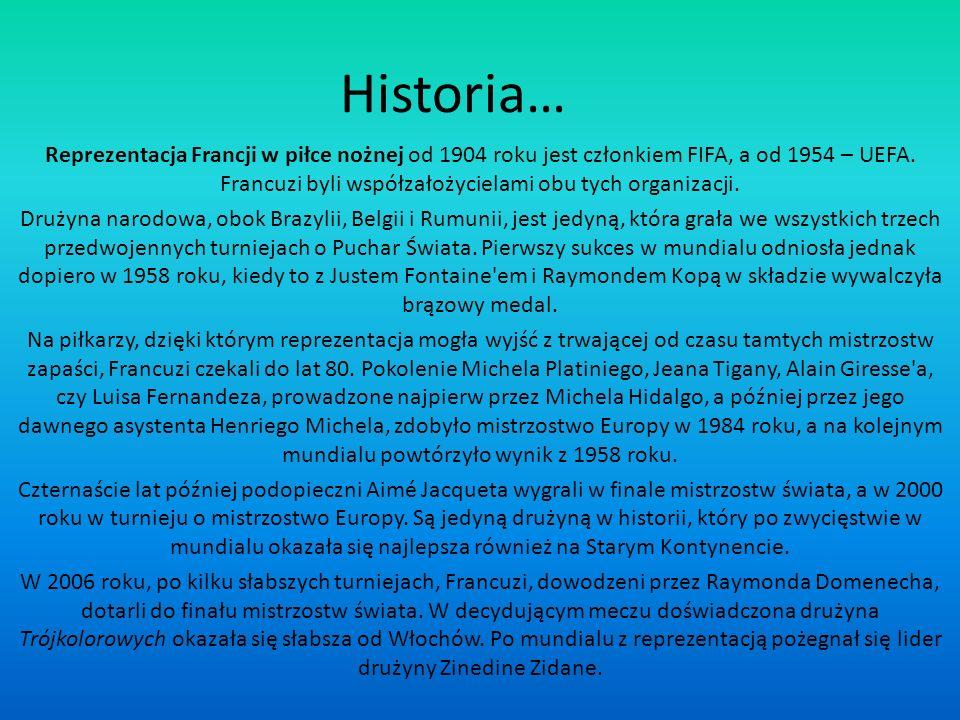 Historia… Reprezentacja Francji w piłce nożnej od 1904 roku jest członkiem FIFA, a od 1954 – UEFA. Francuzi byli współzałożycielami obu tych organizac