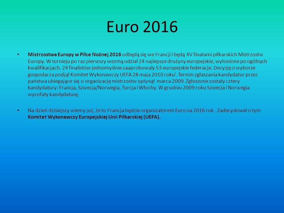 Euro 2016 Mistrzostwa Europy w Piłce Nożnej 2016 odbędą się we Francji i będą XV finałami piłkarskich Mistrzostw Europy. W turnieju po raz pierwszy we