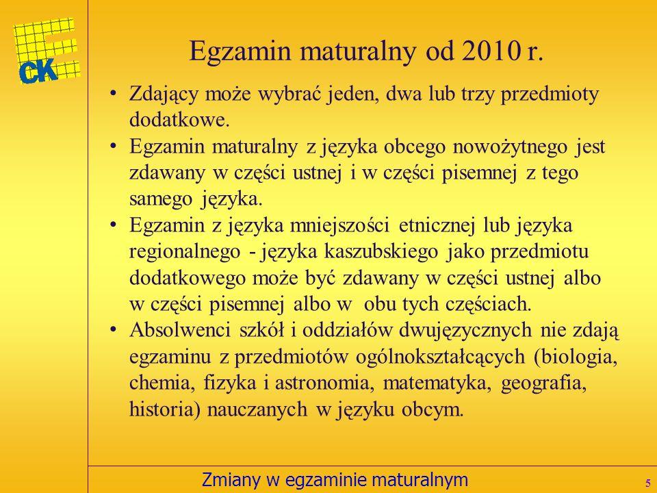 Zmiany w egzaminie maturalnym Egzamin maturalny od 2010 r.