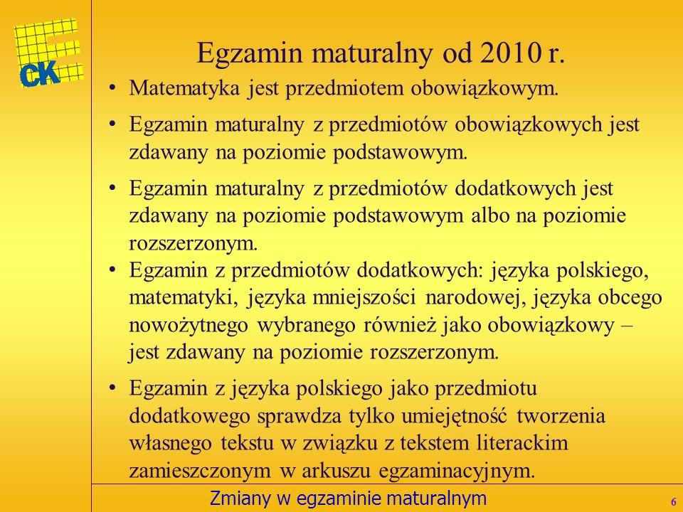 Zmiany w egzaminie maturalnym Wybrany przedmiot Przedmioty obowiązkowe zdawane na poziomie podstawowym albo na poziomie rozszerzonym Struktura egzaminu maturalnego od 2010 r.