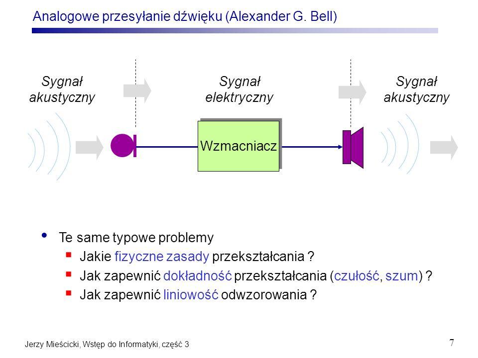 Jerzy Mieścicki, Wstęp do Informatyki, część 3 8 Analogowy pomiar prędkości obrotowej min max Wał obrotowy maszyny parowej
