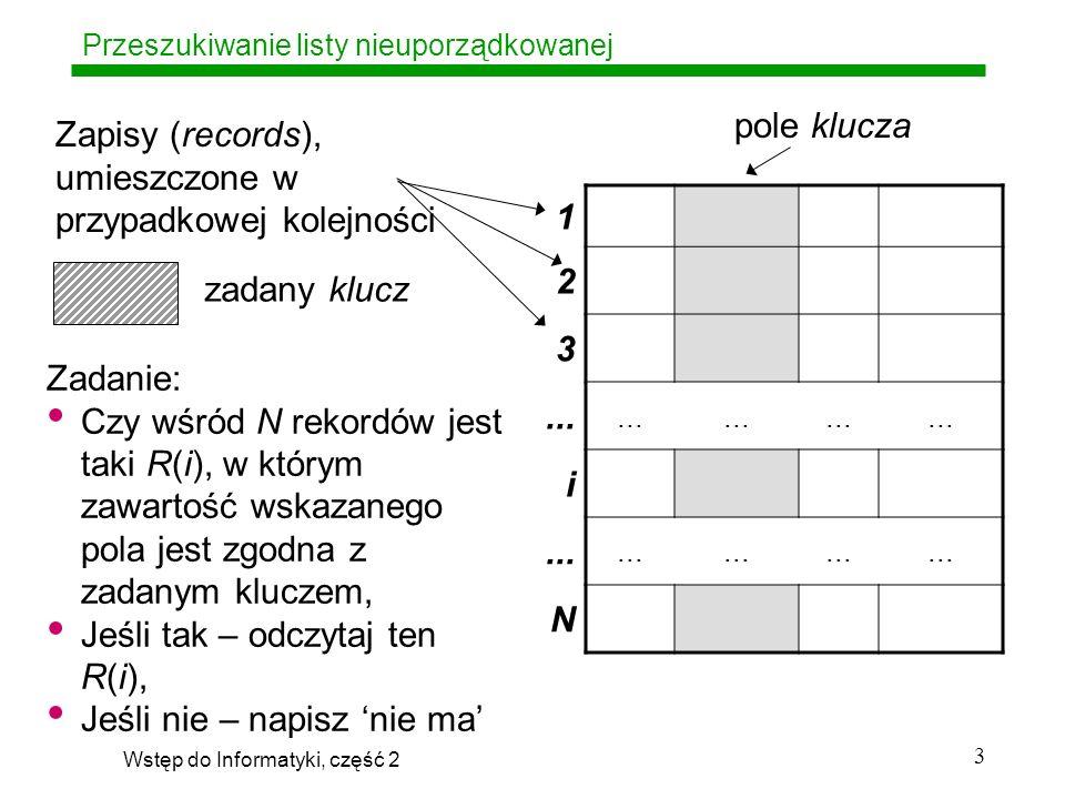 Wstęp do Informatyki, część 2 4 Przeszukiwanie listy nieuporządkowanej 1 31 2 15 3 2...
