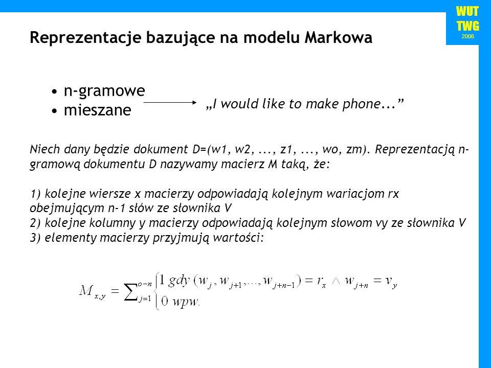 WUT TWG 2006 n-gramowe mieszane Reprezentacje bazujące na modelu Markowa I would like to make phone... Niech dany będzie dokument D=(w1, w2,..., z1,..