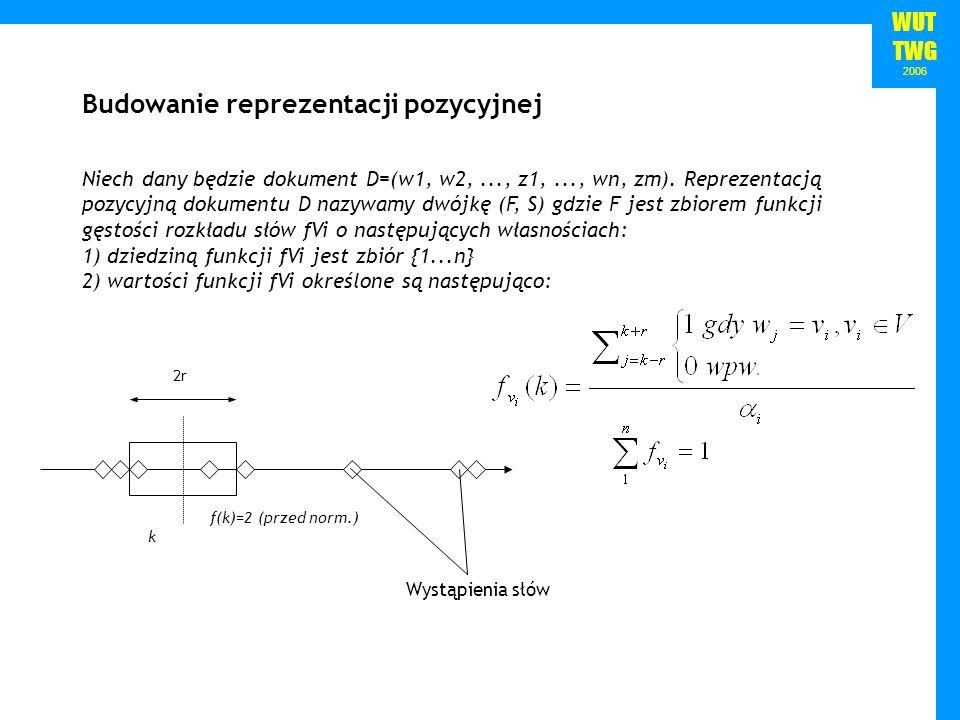 WUT TWG 2006 2r Wystąpienia słów f(k)=2 (przed norm.) k Niech dany będzie dokument D=(w1, w2,..., z1,..., wn, zm). Reprezentacją pozycyjną dokumentu D