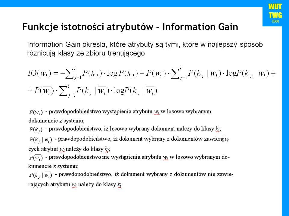 WUT TWG 2006 Information Gain określa, które atrybuty są tymi, które w najlepszy sposób różnicują klasy ze zbioru trenującego Funkcje istotności atryb