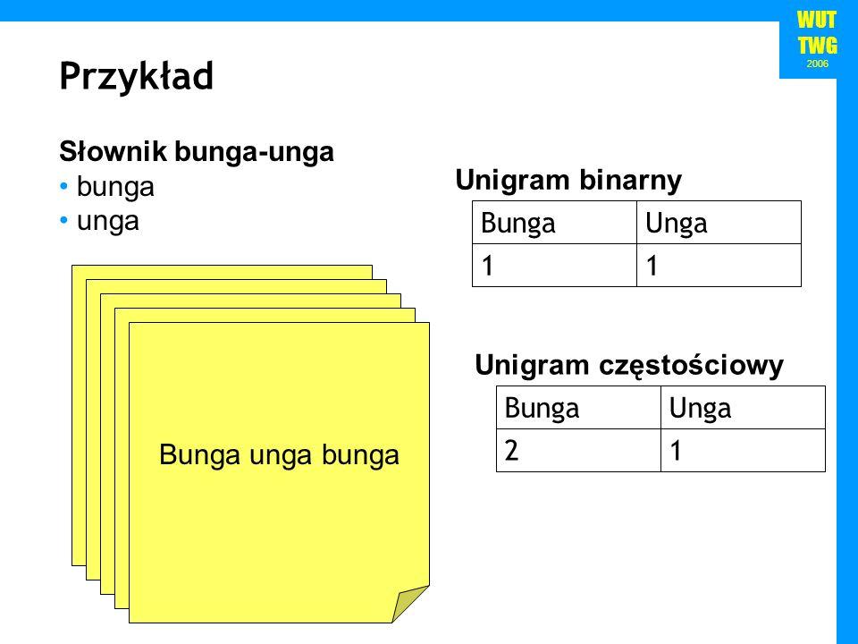 WUT TWG 2006 Przykład Słownik bunga-unga bunga unga bunga unga Bunga bunga bunga Unga unga unga Bunga unga bunga 11 UngaBunga Unigram binarny 12 UngaB
