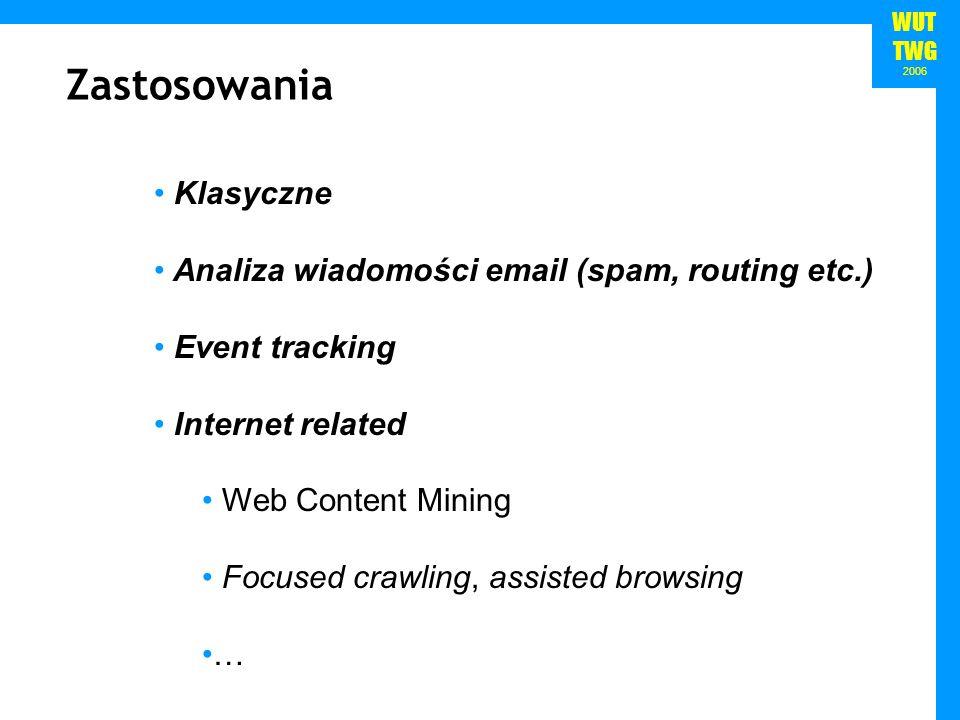 WUT TWG 2006 Zastosowania Klasyczne Analiza wiadomości email (spam, routing etc.) Event tracking Internet related Web Content Mining Focused crawling,