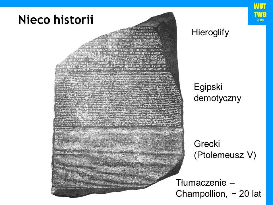 WUT TWG 2006 Hieroglify Egipski demotyczny Grecki (Ptolemeusz V) Nieco historii Tłumaczenie – Champollion, ~ 20 lat