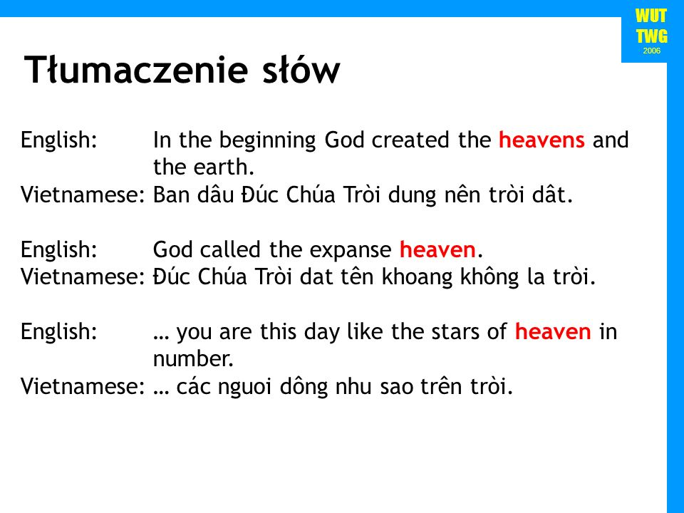 WUT TWG 2006 English:In the beginning God created the heavens and the earth.