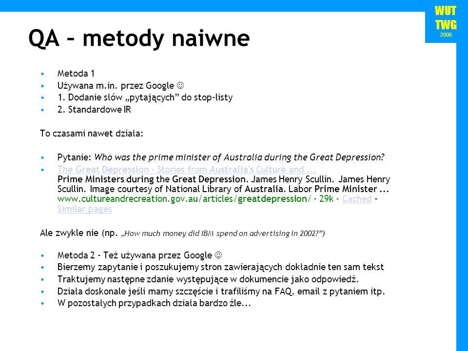WUT TWG 2006 QA – metody naiwne Metoda 1 Używana m.in.