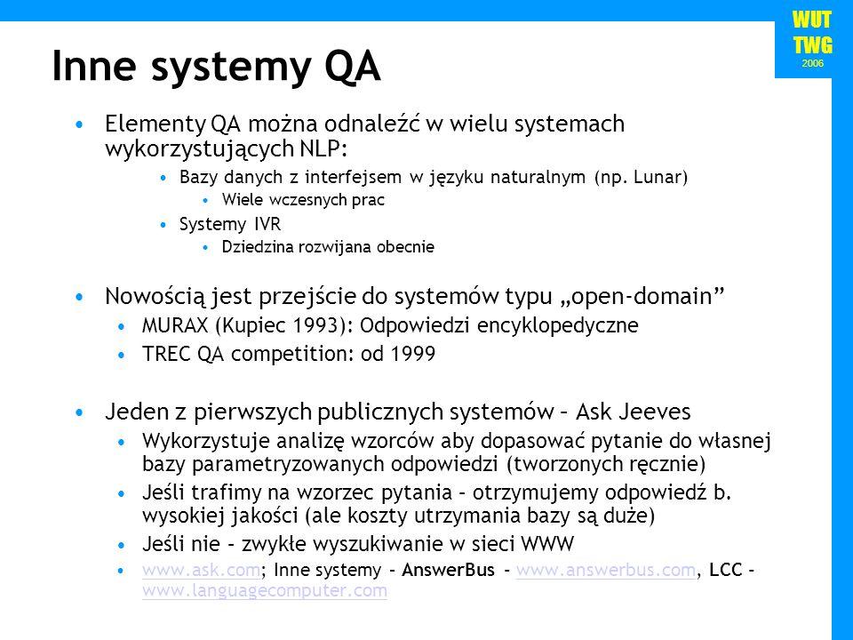 WUT TWG 2006 Elementy QA można odnaleźć w wielu systemach wykorzystujących NLP: Bazy danych z interfejsem w języku naturalnym (np.
