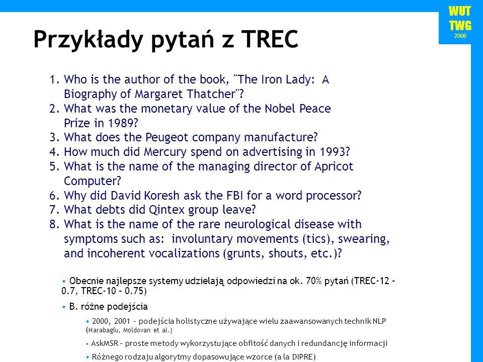 WUT TWG 2006 Przykłady pytań z TREC 1.