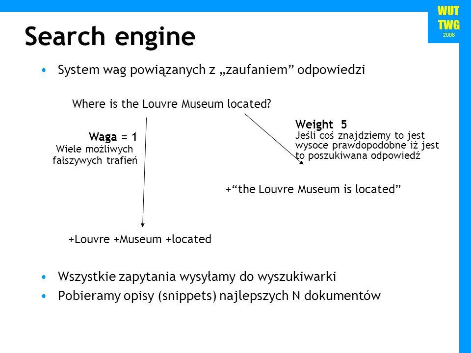 WUT TWG 2006 Search engine System wag powiązanych z zaufaniem odpowiedzi Wszystkie zapytania wysyłamy do wyszukiwarki Pobieramy opisy (snippets) najlepszych N dokumentów +the Louvre Museum is located Where is the Louvre Museum located.