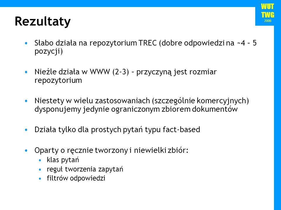 WUT TWG 2006 Rezultaty Słabo działa na repozytorium TREC (dobre odpowiedzi na ~4 – 5 pozycji) Nieźle działa w WWW (2-3) – przyczyną jest rozmiar repozytorium Niestety w wielu zastosowaniach (szczególnie komercyjnych) dysponujemy jedynie ograniczonym zbiorem dokumentów Działa tylko dla prostych pytań typu fact-based Oparty o ręcznie tworzony i niewielki zbiór: klas pytań reguł tworzenia zapytań filtrów odpowiedzi