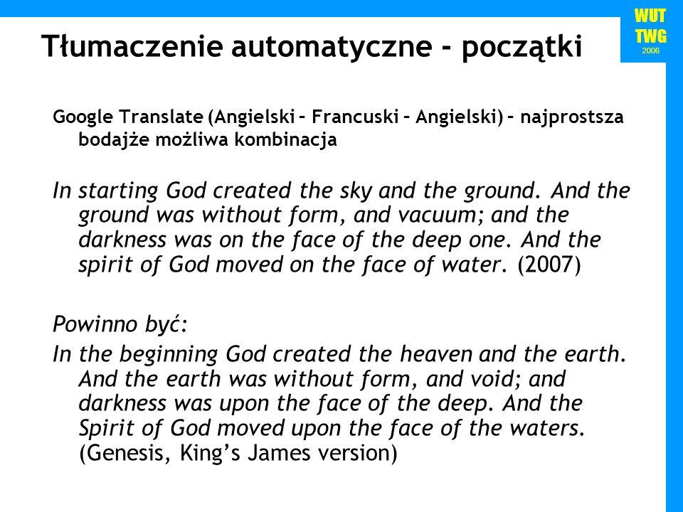 WUT TWG 2006 Google Translate (Angielski – Francuski – Angielski) – najprostsza bodajże możliwa kombinacja In starting God created the sky and the ground.