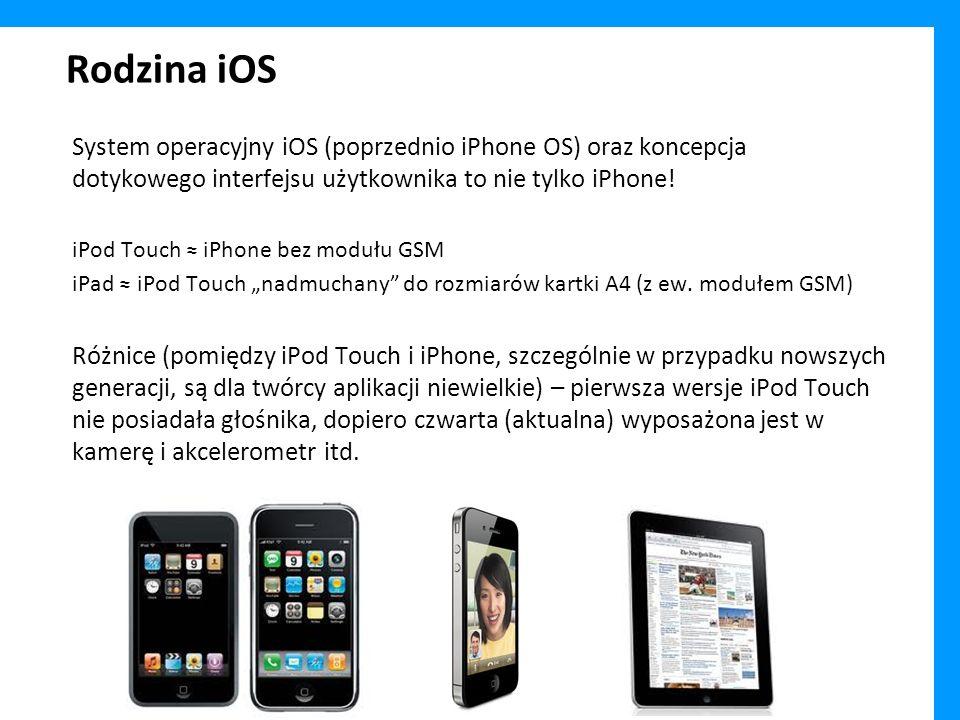 Rodzina iOS System operacyjny iOS (poprzednio iPhone OS) oraz koncepcja dotykowego interfejsu użytkownika to nie tylko iPhone! iPod Touch iPhone bez m