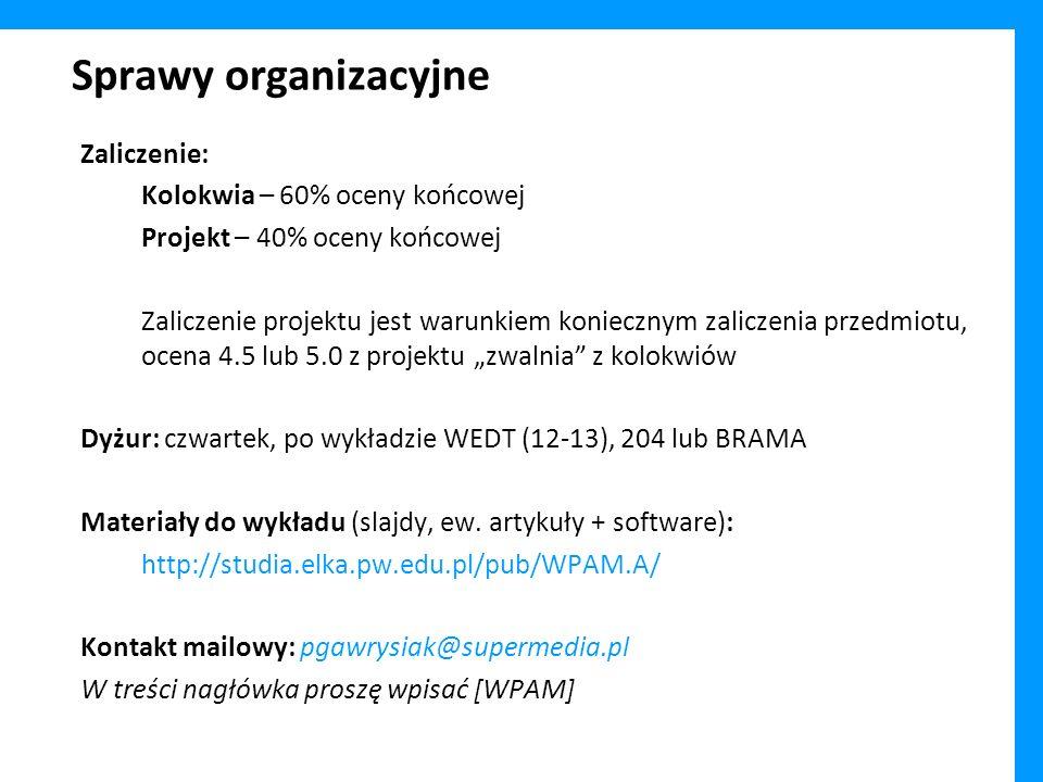 Sprawy organizacyjne Zaliczenie: Kolokwia – 60% oceny końcowej Projekt – 40% oceny końcowej Zaliczenie projektu jest warunkiem koniecznym zaliczenia p