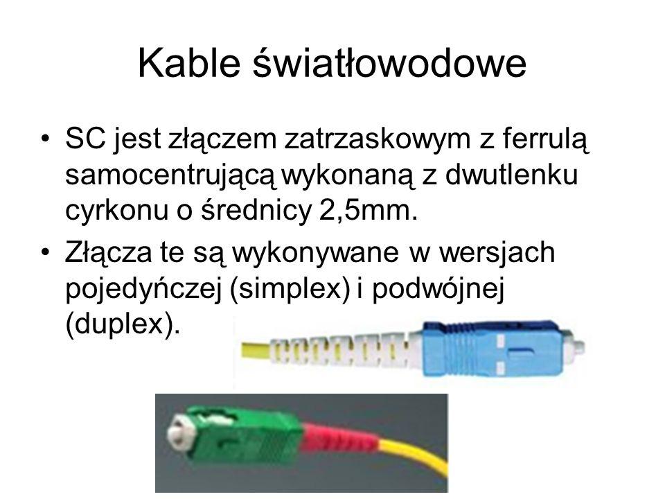 Kable światłowodowe SC jest złączem zatrzaskowym z ferrulą samocentrującą wykonaną z dwutlenku cyrkonu o średnicy 2,5mm. Złącza te są wykonywane w wer
