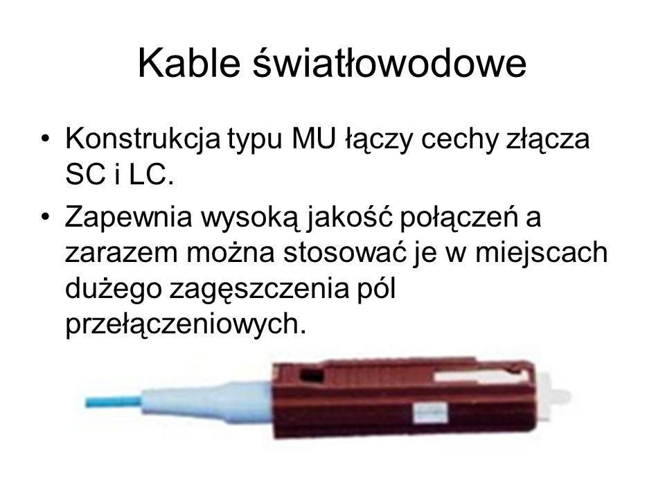 Kable światłowodowe Konstrukcja typu MU łączy cechy złącza SC i LC. Zapewnia wysoką jakość połączeń a zarazem można stosować je w miejscach dużego zag
