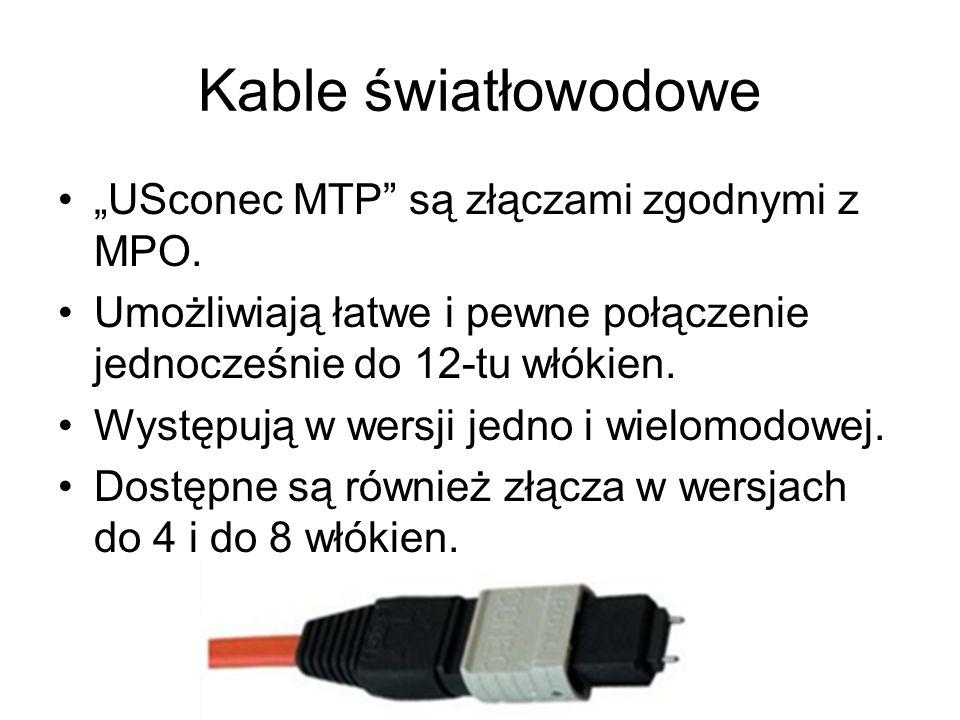 Kable światłowodowe USconec MTP są złączami zgodnymi z MPO. Umożliwiają łatwe i pewne połączenie jednocześnie do 12-tu włókien. Występują w wersji jed