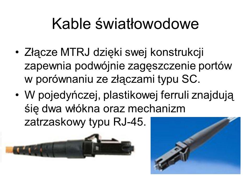 Kable światłowodowe Złącze MTRJ dzięki swej konstrukcji zapewnia podwójnie zagęszczenie portów w porównaniu ze złączami typu SC. W pojedyńczej, plasti