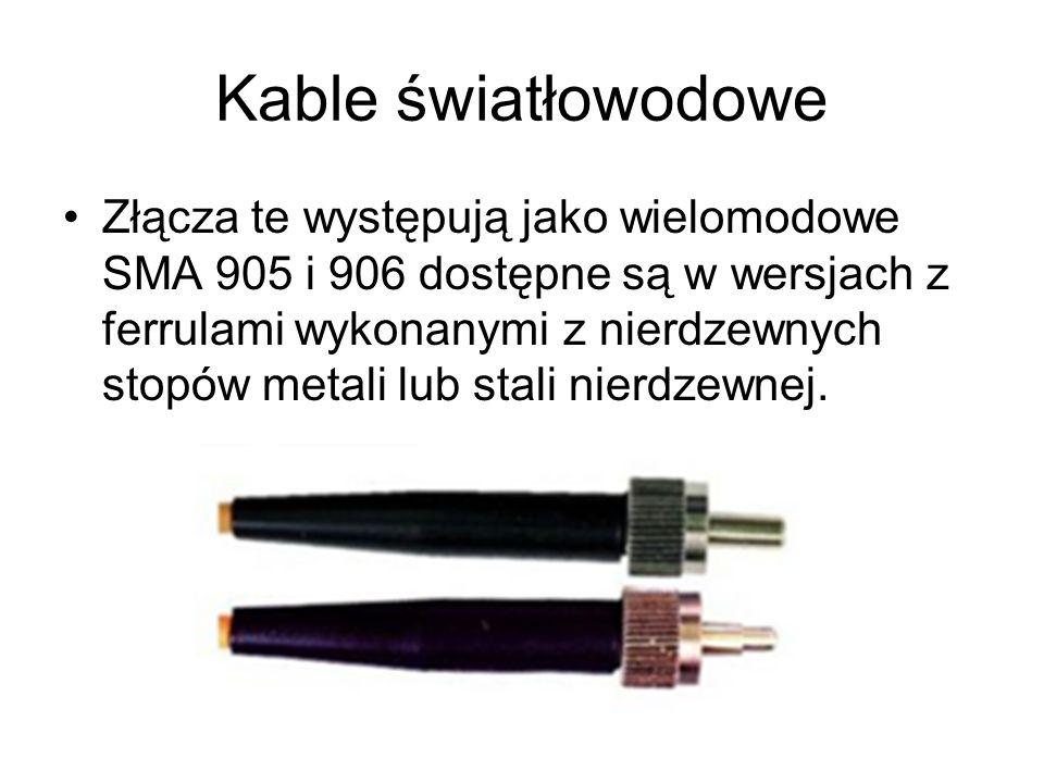 Kable światłowodowe Złącza te występują jako wielomodowe SMA 905 i 906 dostępne są w wersjach z ferrulami wykonanymi z nierdzewnych stopów metali lub