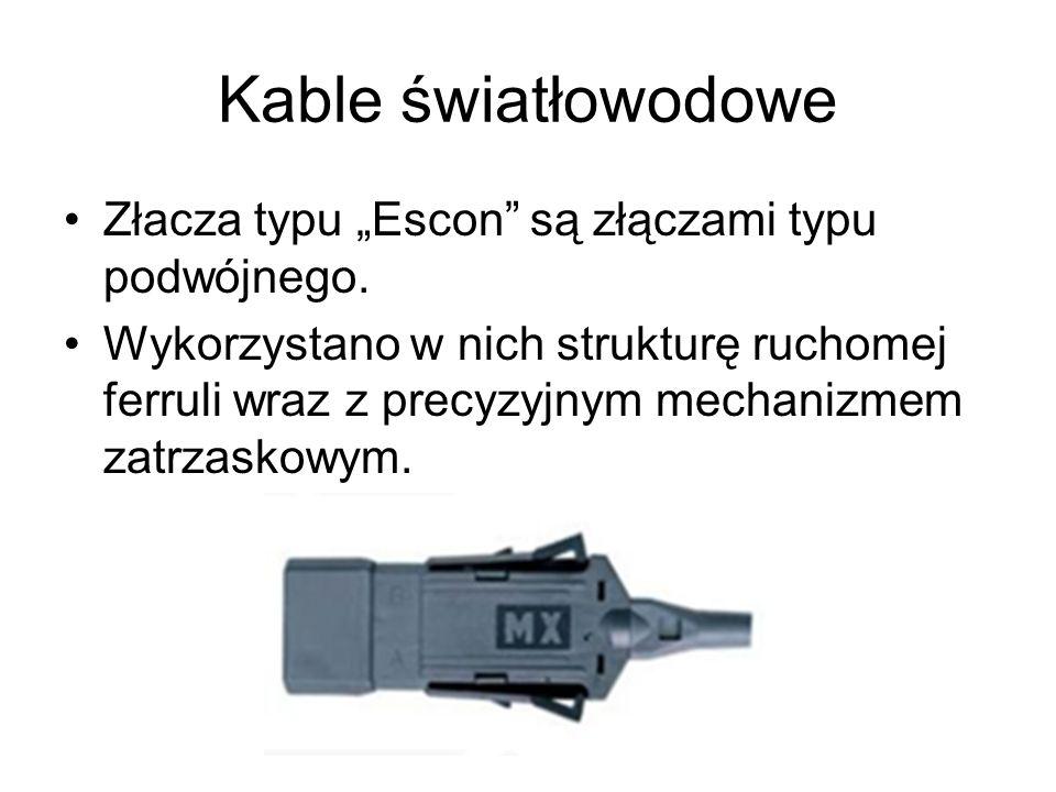 Kable światłowodowe Złacza typu Escon są złączami typu podwójnego. Wykorzystano w nich strukturę ruchomej ferruli wraz z precyzyjnym mechanizmem zatrz