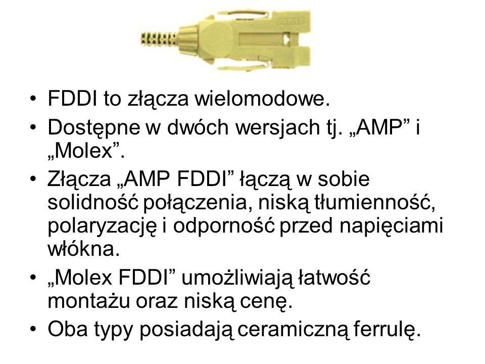 FDDI to złącza wielomodowe. Dostępne w dwóch wersjach tj. AMP i Molex. Złącza AMP FDDI łączą w sobie solidność połączenia, niską tłumienność, polaryza