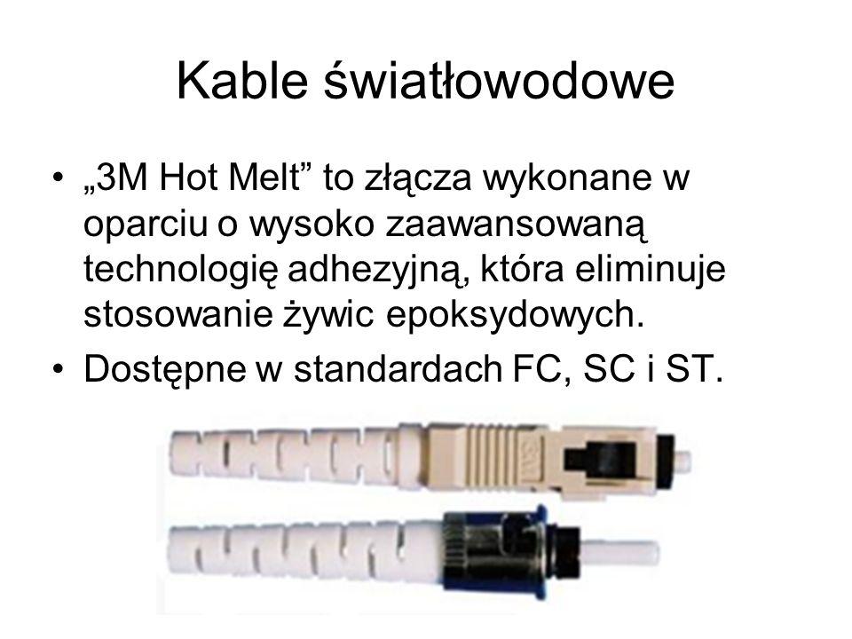 Kable światłowodowe 3M Hot Melt to złącza wykonane w oparciu o wysoko zaawansowaną technologię adhezyjną, która eliminuje stosowanie żywic epoksydowyc