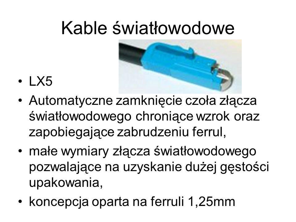 Kable światłowodowe LX5 Automatyczne zamknięcie czoła złącza światłowodowego chroniące wzrok oraz zapobiegające zabrudzeniu ferrul, małe wymiary złącz