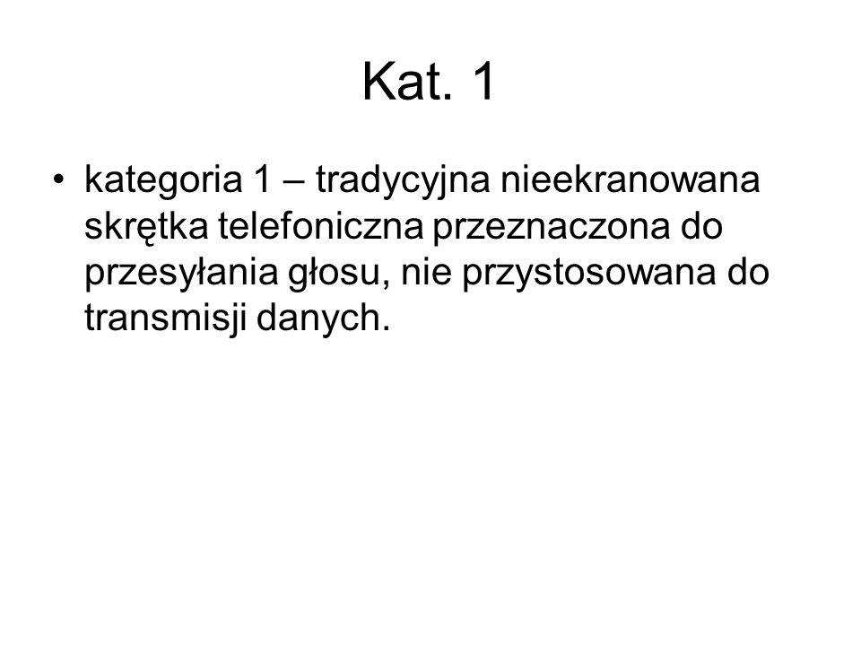 Kat. 1 kategoria 1 – tradycyjna nieekranowana skrętka telefoniczna przeznaczona do przesyłania głosu, nie przystosowana do transmisji danych.