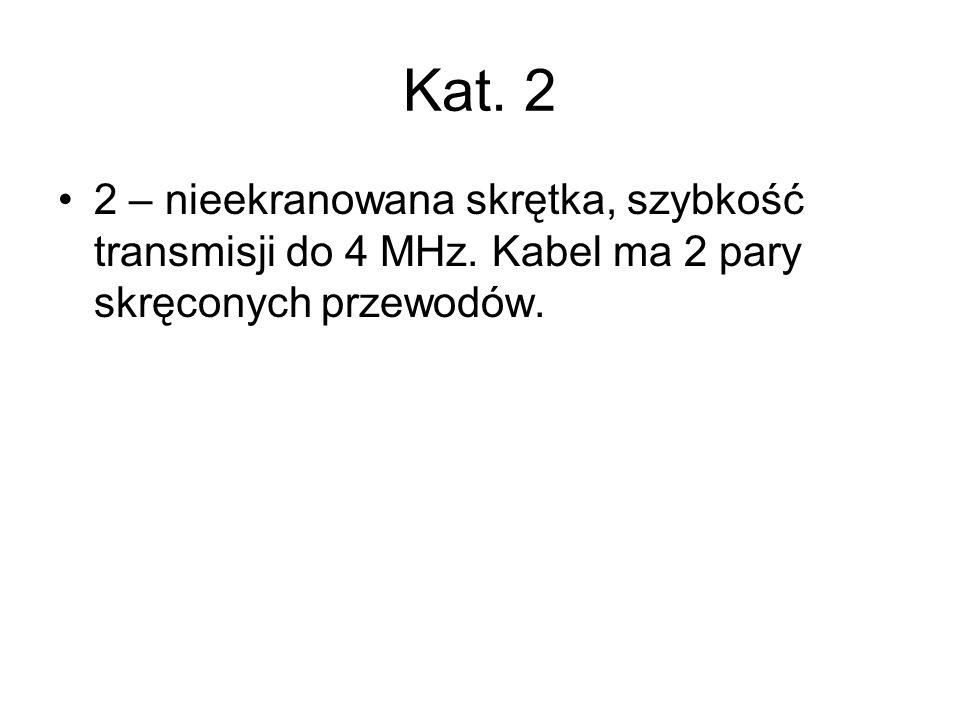 Kat. 2 2 – nieekranowana skrętka, szybkość transmisji do 4 MHz. Kabel ma 2 pary skręconych przewodów.