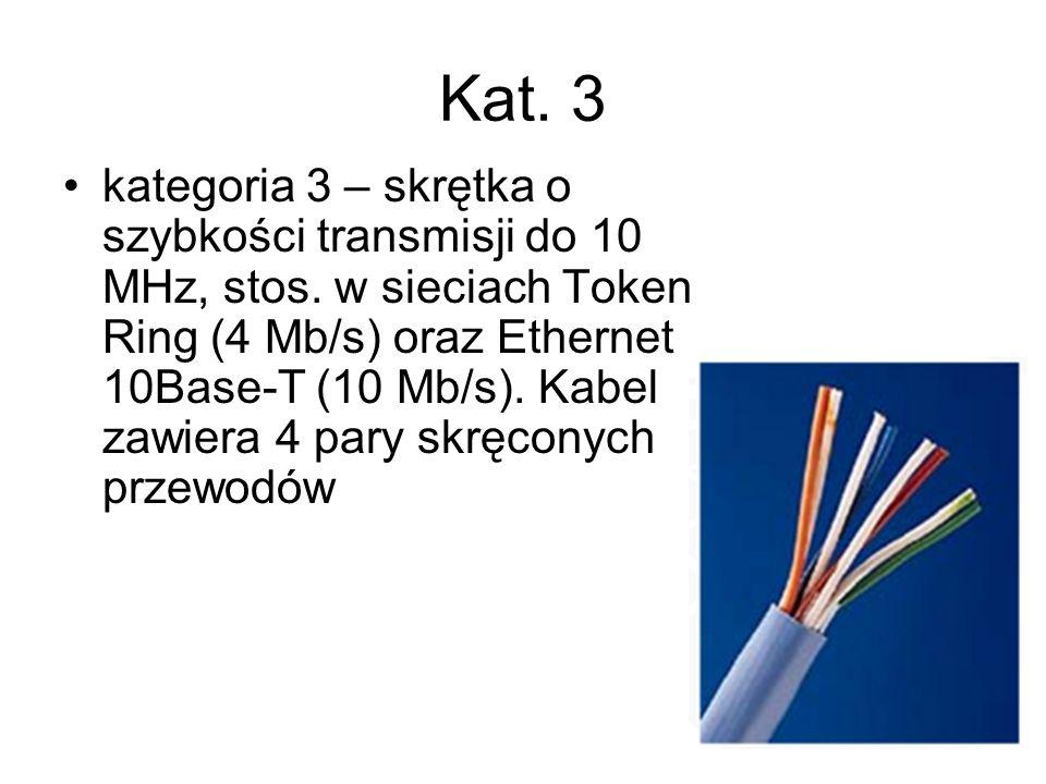 Kat. 3 kategoria 3 – skrętka o szybkości transmisji do 10 MHz, stos. w sieciach Token Ring (4 Mb/s) oraz Ethernet 10Base-T (10 Mb/s). Kabel zawiera 4