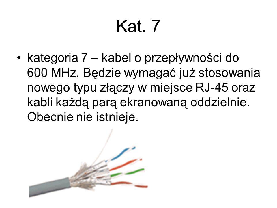 Kat. 7 kategoria 7 – kabel o przepływności do 600 MHz. Będzie wymagać już stosowania nowego typu złączy w miejsce RJ-45 oraz kabli każdą parą ekranowa